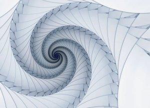 Niebieski spiralny fractal - fototapeta