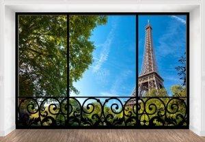 Wieża Eiffela window - fototapeta