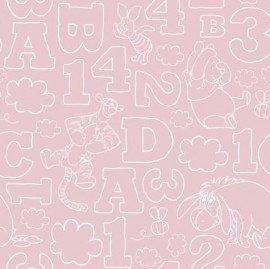 Tapeta Kubuś Puchatek literki cyferki - różowa
