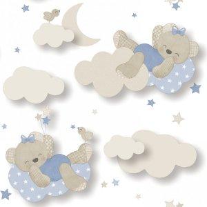 Tapeta biała Misie na Chmurkach Babylandia 5403