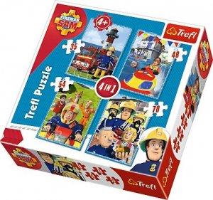 PUZZLE 4 w 1 Drużyna STRAŻAK SAM 34269 TREFL Fireman