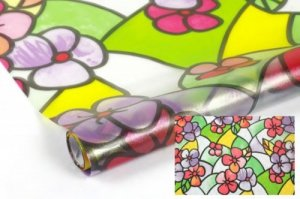 Statyczna folia okienna Witraż 90x150 Kolorowe Kwiaty