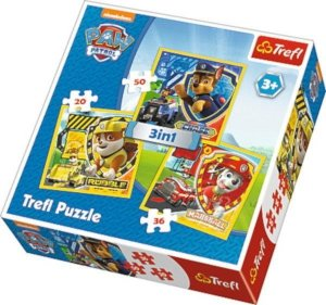 Puzzle 3w1 Psi Patrol Marshall, Rubble, Chase 34839 Trefl