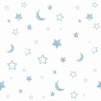 Tapeta biała w niebieskie gwiazdki