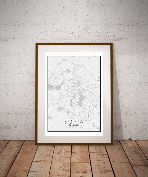 Sofia, Bułgaria mapa czarno biała - plakat