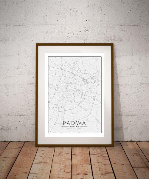 Padwa, Włochy mapa czarno biała - plakat