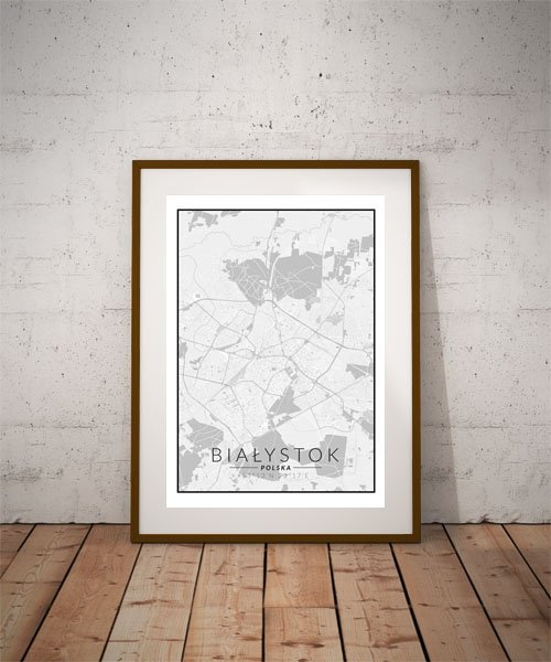 Białystok, Polska mapa czarno biała - plakat