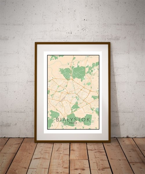 Białystok, Polska mapa kolorowa - plakat