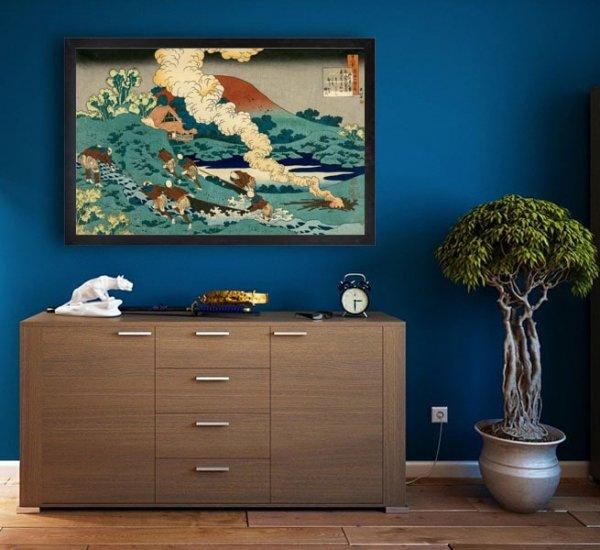 Hokusai, Poem by Kakinomoto no Hitomaro - plakat