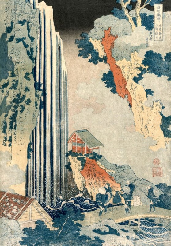 Hokusai, Ono Waterfall on the Kiso Road - plakat