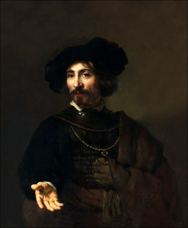 Man with a Steel Gorget, Rembrandt - plakat