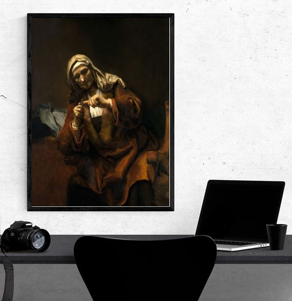 Old Woman Cutting Her Nails, Rembrandt - plakat
