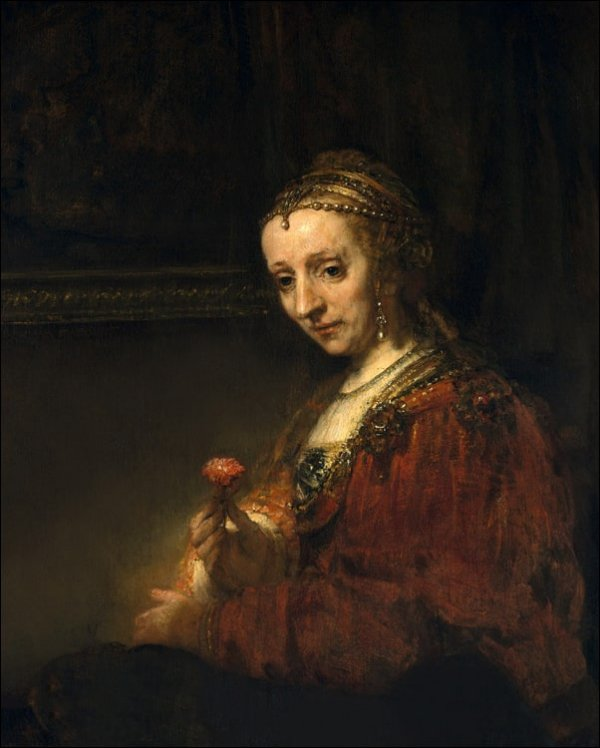 Woman with a Pink, Rembrandt - plakat