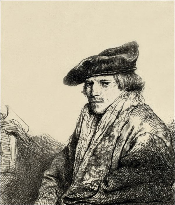 Young Man in a Velvet Cap, Rembrandt - plakat