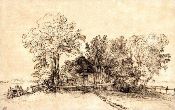Cottage among Trees, Rembrandt - plakat