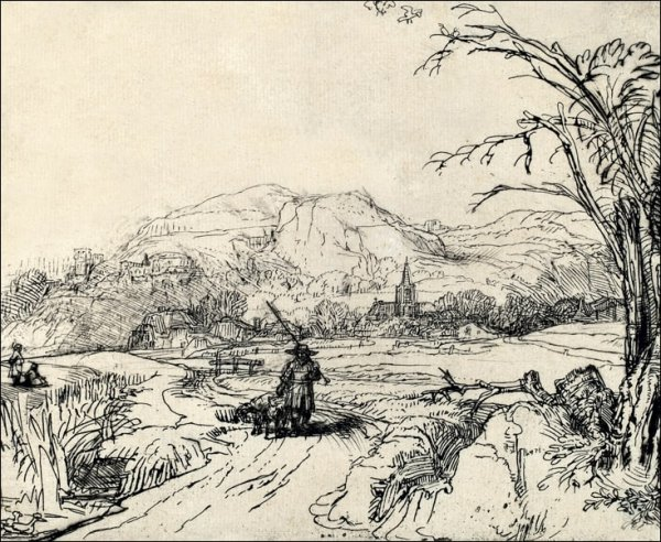 Landscape with Sportsman and Dog, Rembrandt - plakat