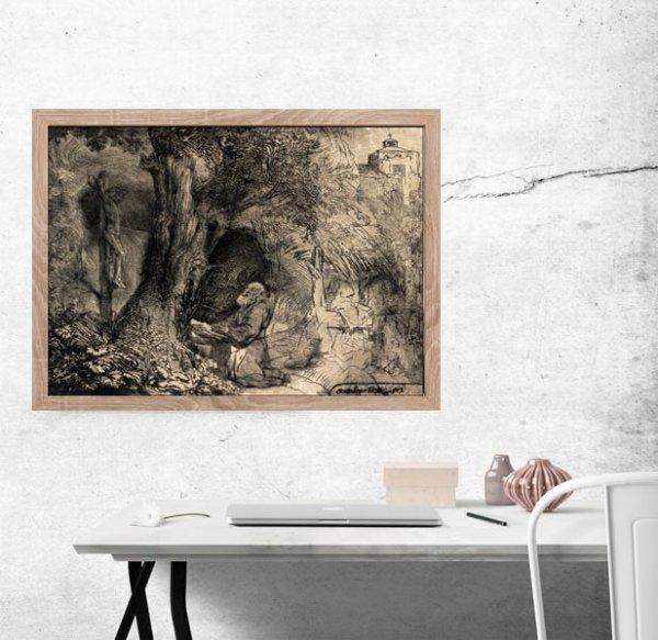 Saint Francis beneath a Tree Praying,, Rembrandt - plakat