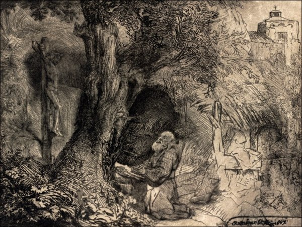 Saint Francis beneath a Tree Praying,, Rembrandt - plakat