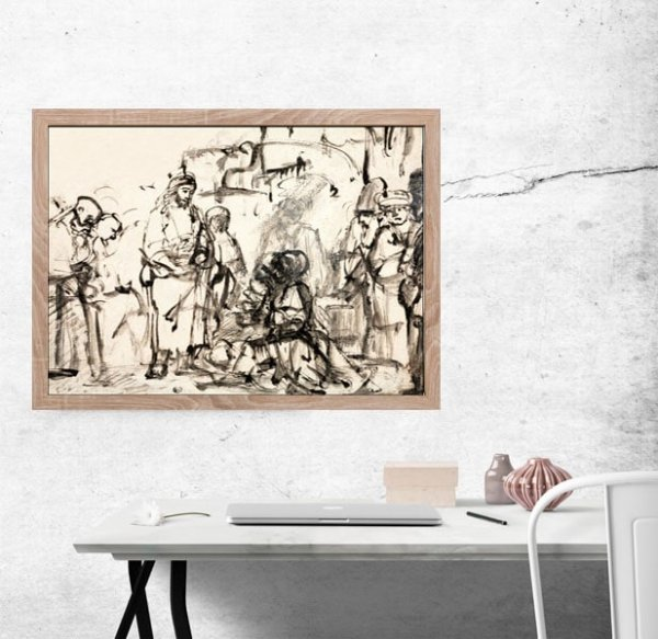 The Meeting of Christ with Martha and Mary after the Death of Lazarus, Rembrandt - plakat
