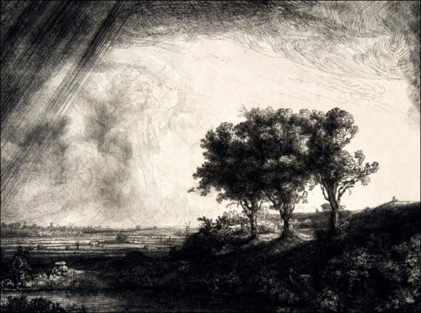 The Three Trees, Rembrandt - plakat
