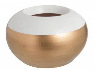 Ceramiczna doniczka białe obrzeże 16 cm