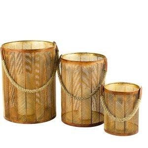 Zestaw złotych lampionów indyjskich w 3 rozmiarach z uchwytem