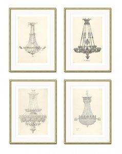 DEKORACJA ŚCIENNA OBRAZ X 4  LAMPY WISZĄCE