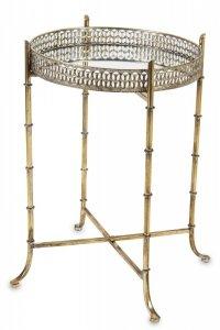 Dekoracyjny lustrzany metalowy złoty stolik