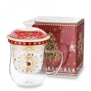 Kolorowy świąteczny kubek z zaparzaczem z przykrywką