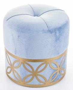 Pikowana pufa niebieska ze złotym wzorem