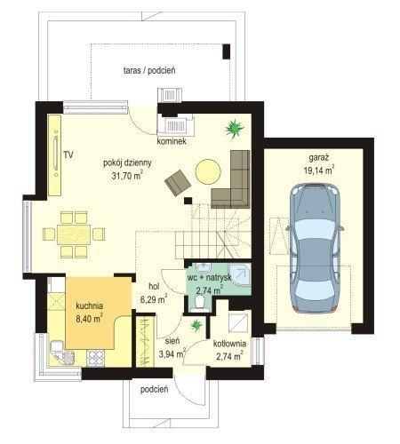 Projekt domu Gucio II pow.netto 96,58 m2