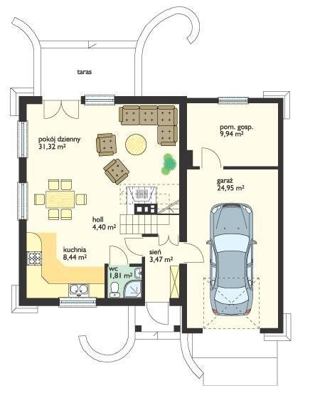 Projekt domu D0III z garażem pow.netto 84,66 m2