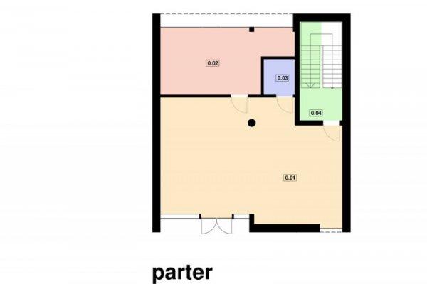 Projekt biurowca PS-BP-130-20v2 WERSJA DO ZABUDOWY SZEREGOWEJ o pow. 271,78 m2