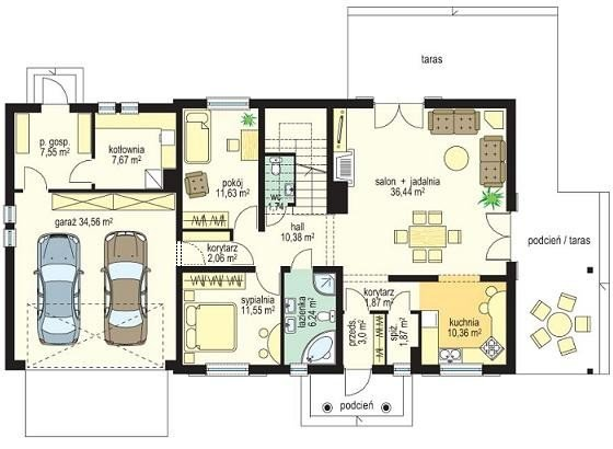 Projekt domu Cztery kąty III pow.netto 200,05 m2