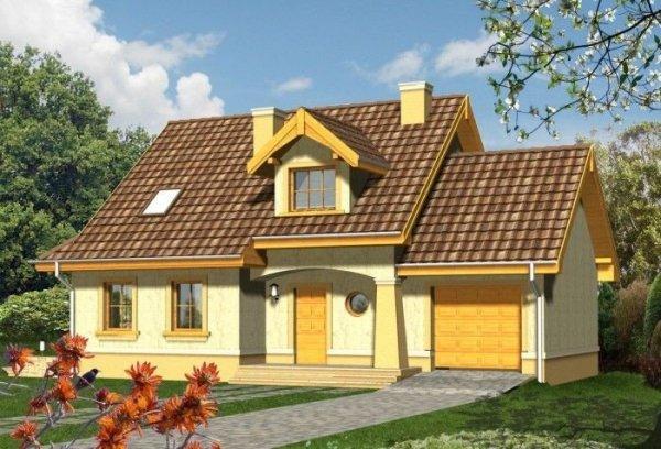Projekt domu ORZECH z garażem 1-stanowiskowym
