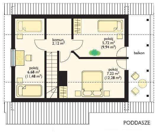 Projekt domu Chatka drewniana pow.netto 69,59 m2