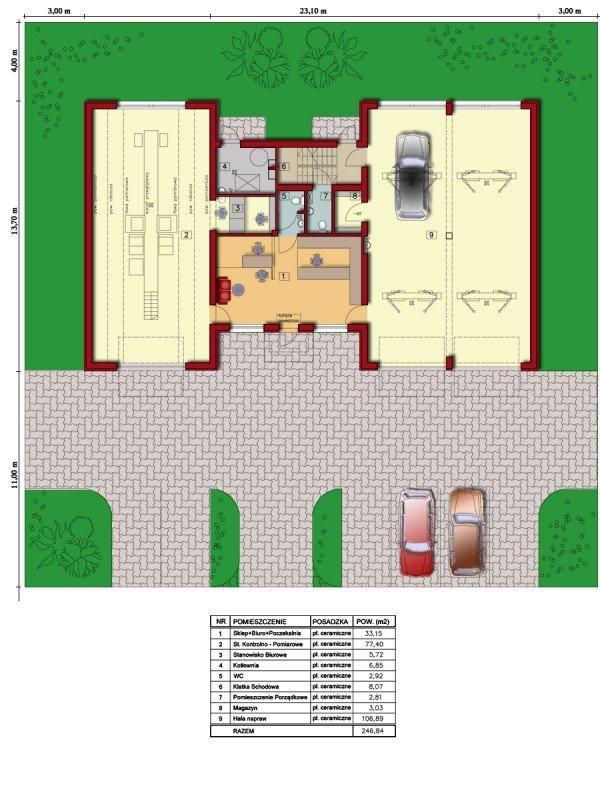 Projekt warsztatu samochodowego U59 ze stacją diagnostyczną do 3,5t o pow. 296,27 m2
