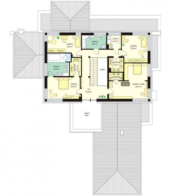 Projekt domu Willa z basenem pow.netto 437,15 m2