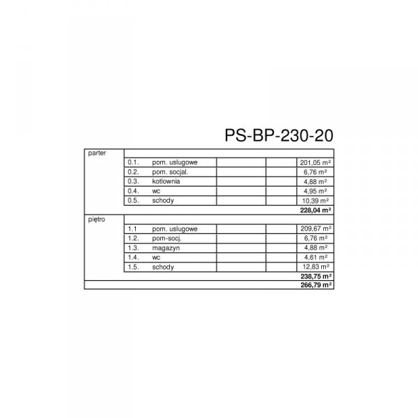 Projekt biurowca PS-BP-230-20 o pow. 466,79 m2