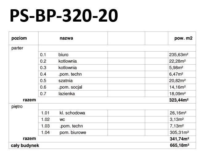 Projekt biurowca PS-BP-320-20 o pow. 665 m2