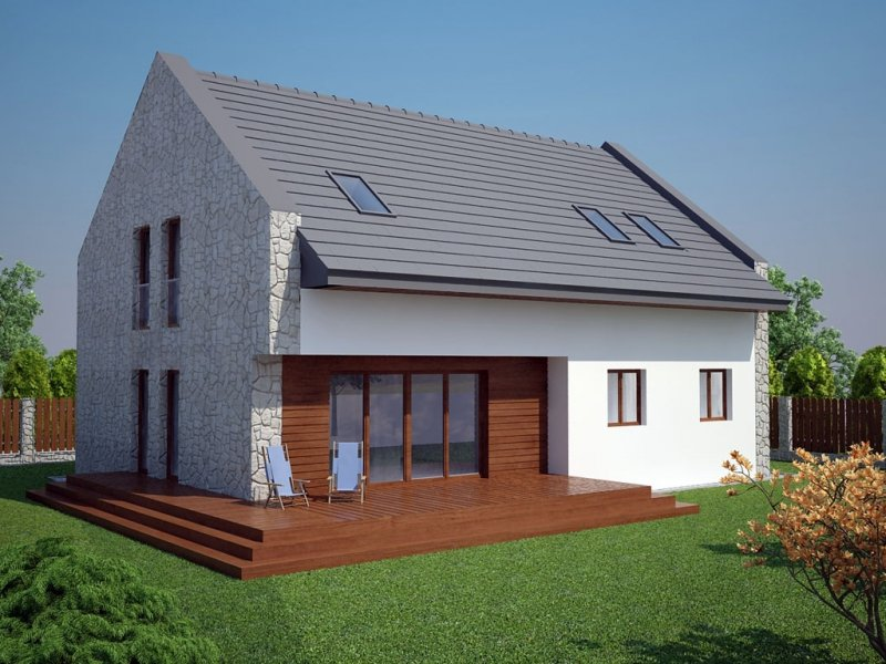 Projekt domu pasywnego LIGHT - Dom w Bronowicach o pow. 158,30 m2