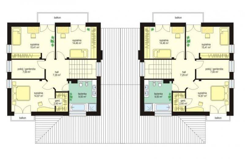 Projekt domu Szmaragd II pow.netto 141,45 m2