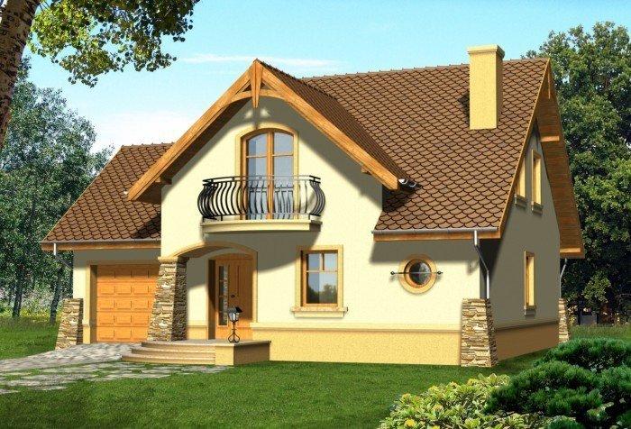 Projekt domu CZEKOLADA z garażem 1-stanowiskowym