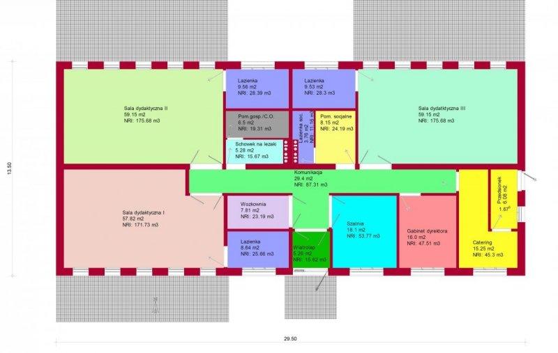 Projekt przedszkola PITEREK na 65 dzieci pow. 325,42 m2