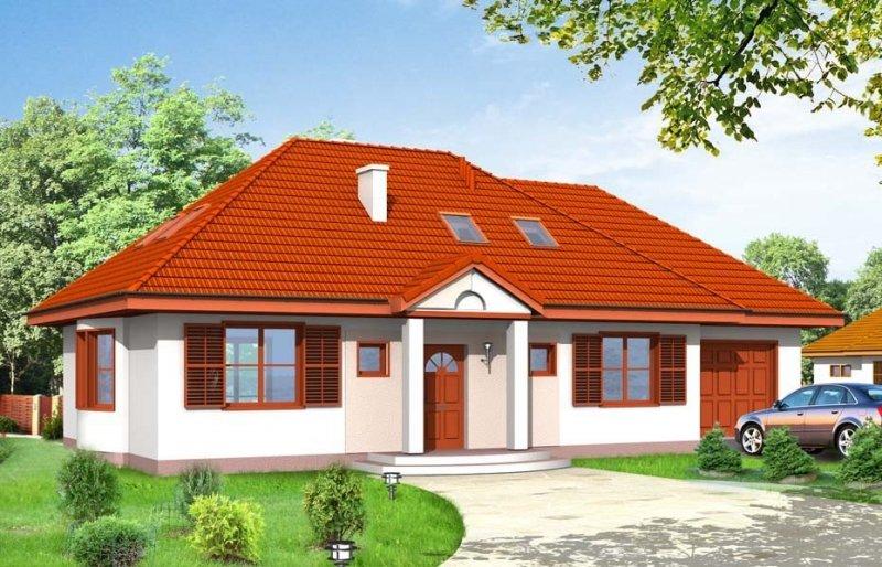Projekt domu Gargamel z garażem pow.netto 110,48 m2