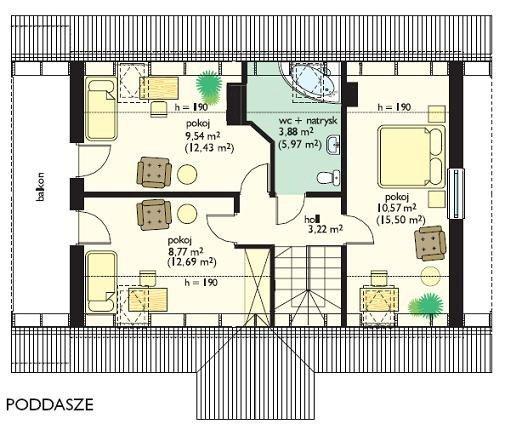 Projekt domu Radosny pow.netto 96,5 m2