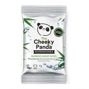 THE CHEEKY PANDA Handy Wipes Nawilżane chusteczki bambusowe dla dzieci MINI 12 sztuki - 99% woda, 1% wyciąg z aloesu i owoców