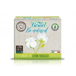 VIVICOT BE NATURAL Podpaski NA DZIEŃ ze skrzydełkami niebielone chlorem z CERTYFIKOWANEJ bawełny organicznej 12 sztuk