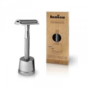 BAMBAW Wielorazowa maszynka do golenia + żyletka i stojak SREBRNA