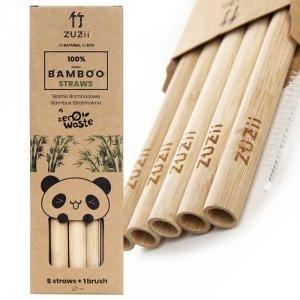 Wielorazowe słomki bambusowe duże z czyścikiem 5 szt.+ czyścik